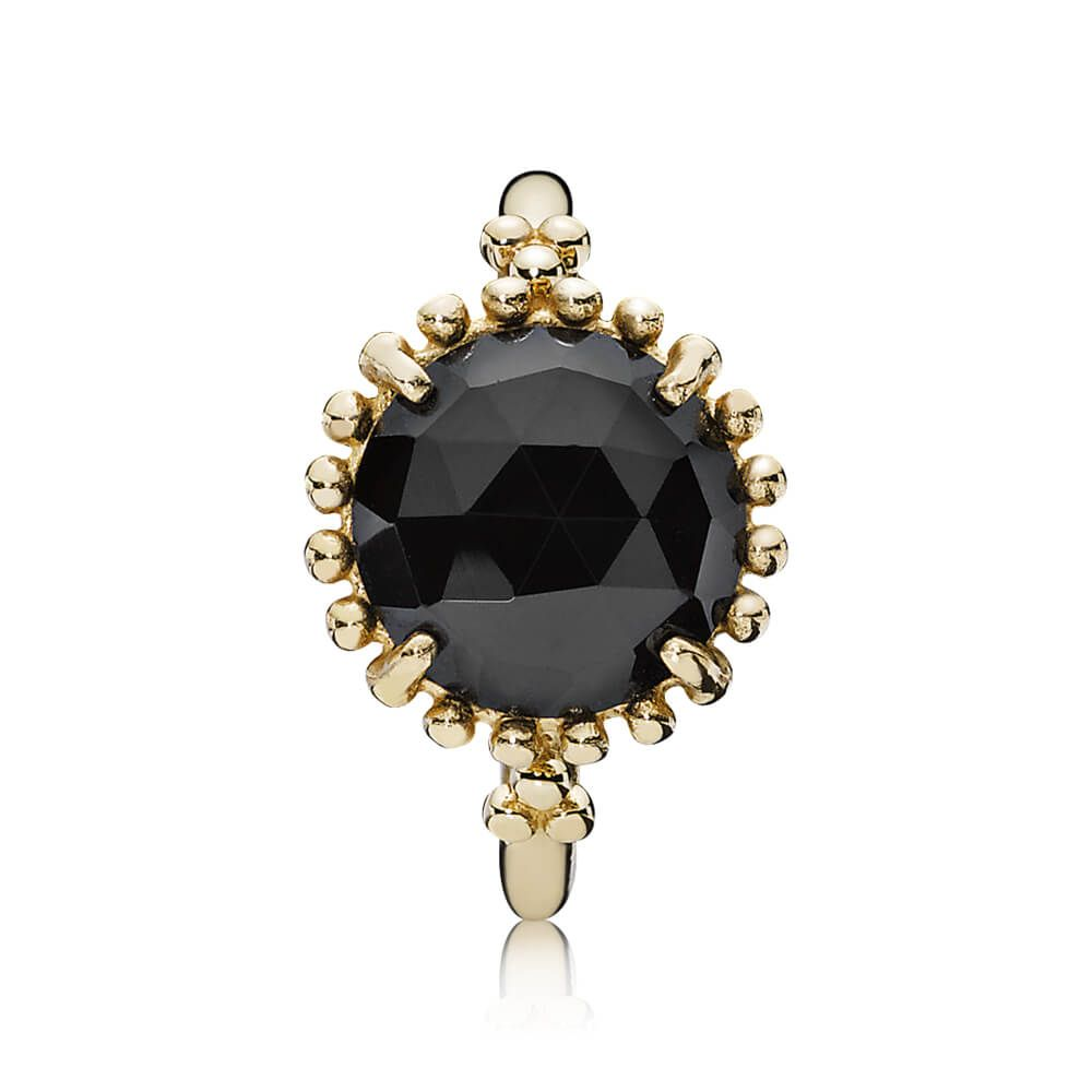 2645a0a6b Shining Star Stackable Ring, Black Spinel   14K Gold   PANDORA US ...