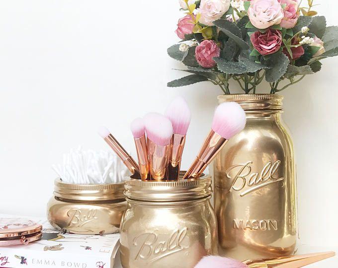 Or mason jar support de brosse de maquillage accessoires de