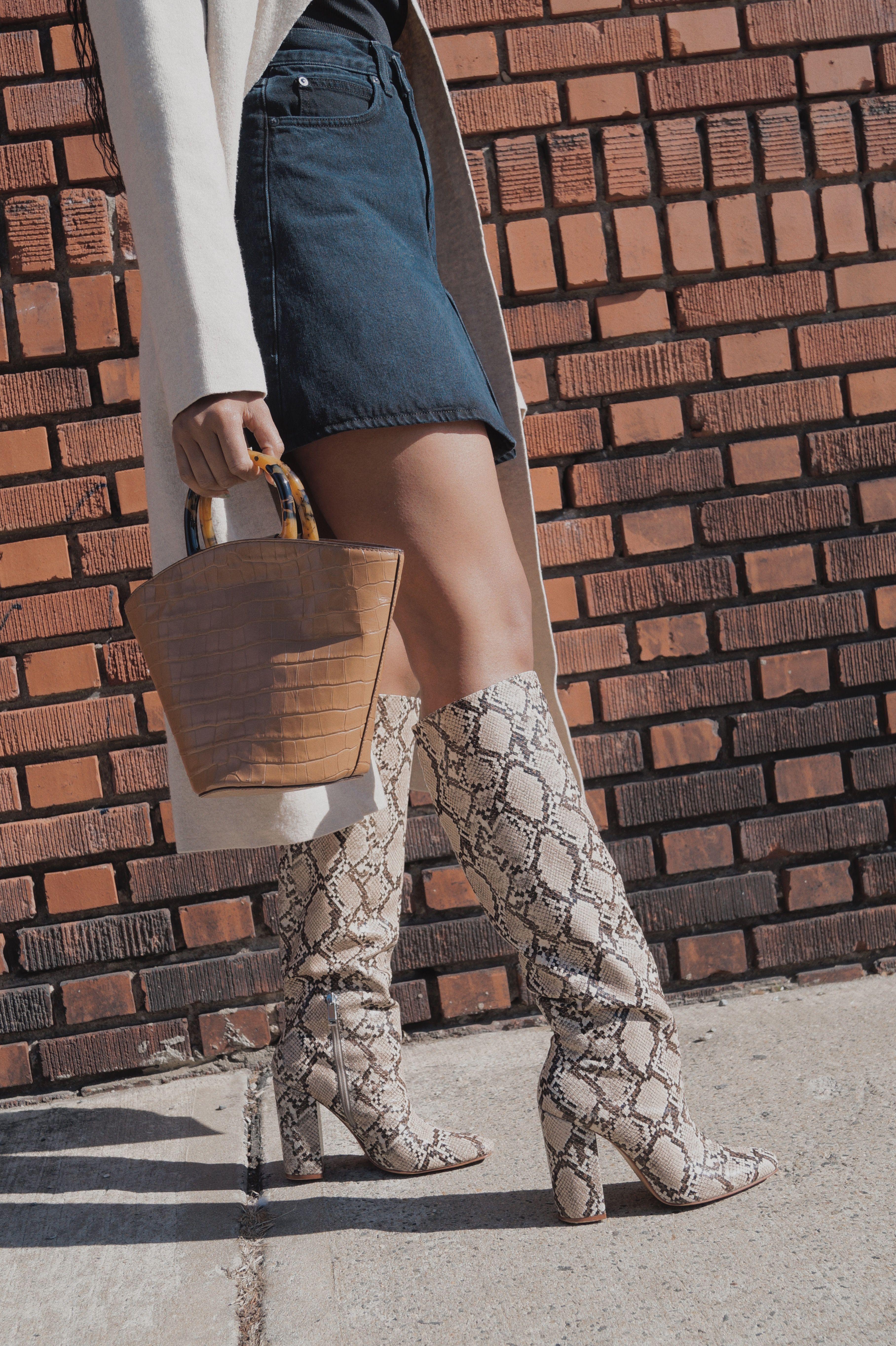 Snakeskin boots, Animal print boots