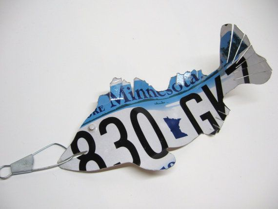 Minnesota Walleye Fish Recycled License Plate by