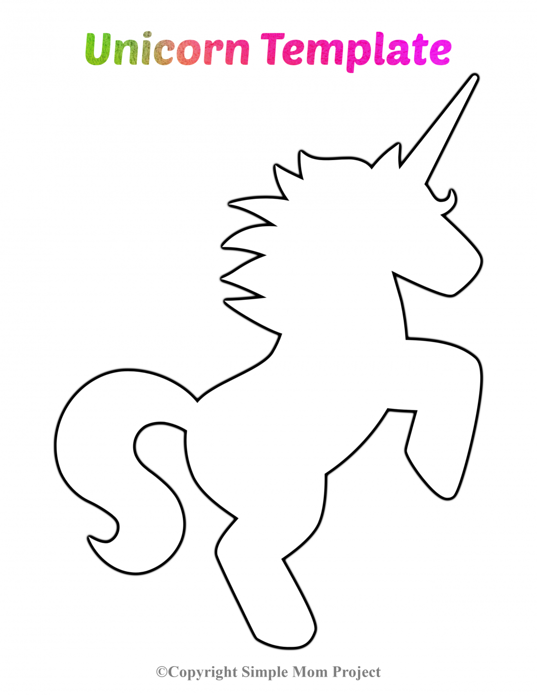 Free Printable Unicorn Template #unicorncrafts