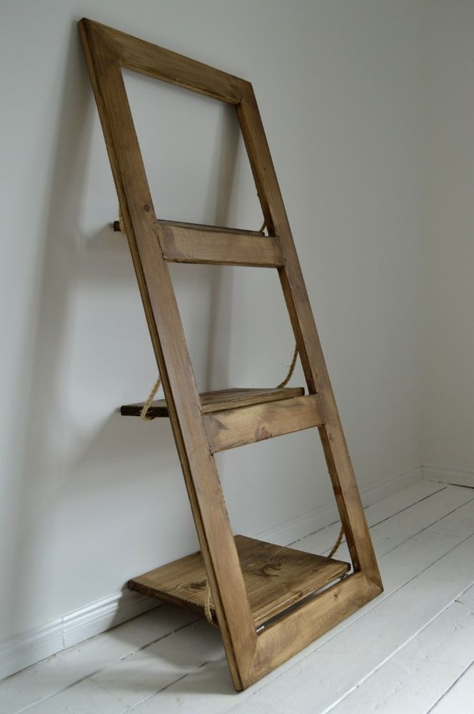 Wooden Hand Made Ladder Wall Shelf Door Shelf Shabby Chic Leaning Wall Shelf Door Shelves Diy