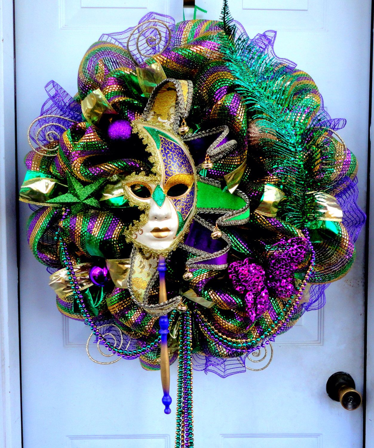 Huge Limited Mardi Gras Deco Mesh Wreath Mardi Gras