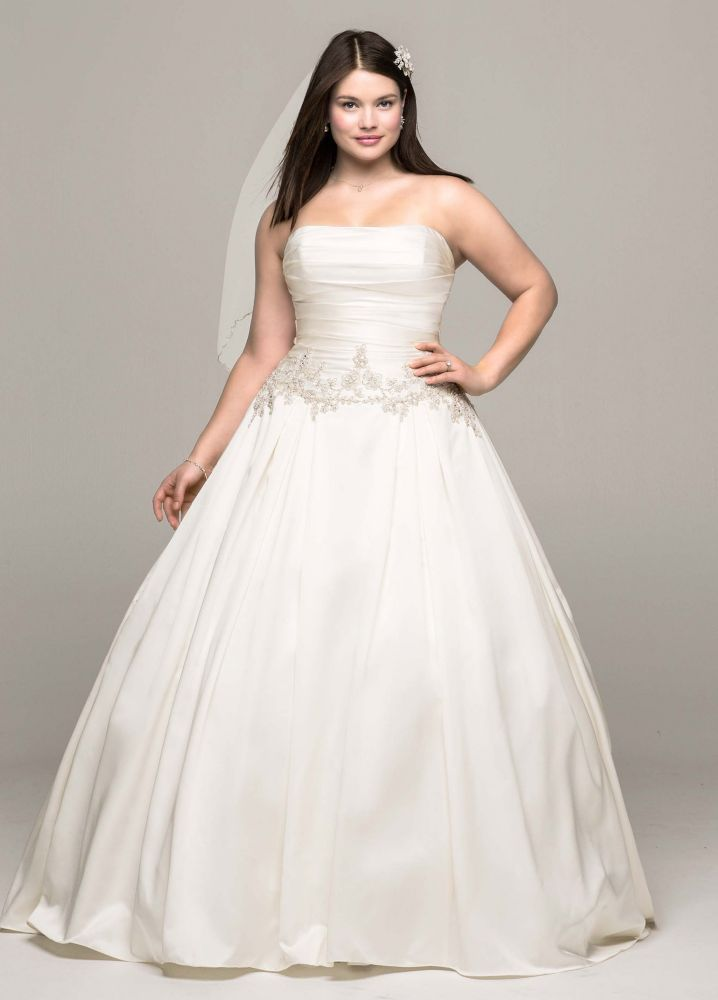 Satin Mikado Plus Size Wedding Dress with Beaded Waist | *Wedding ...
