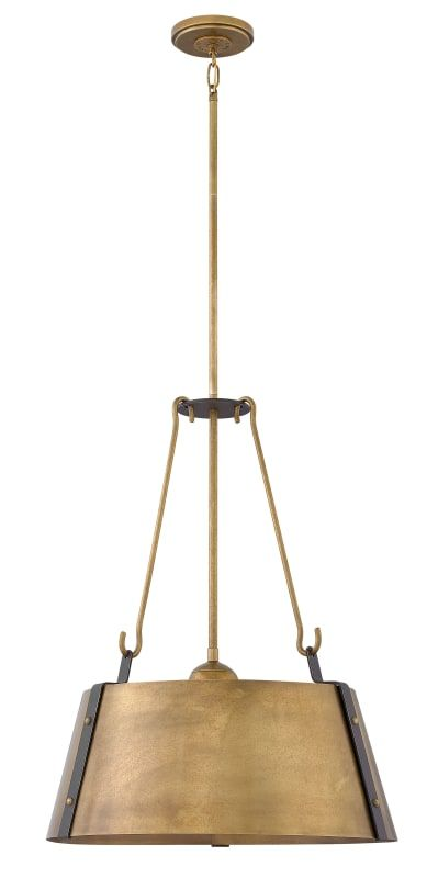 Hinkley lighting 3395 cartwright 3 light 19 1 2 wide pendant rustic brass
