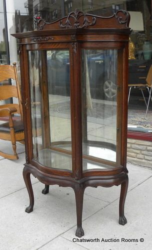 Rare RJ Horner Quartered Oak Diminutive Curved Glass Curio Cabinet C1890