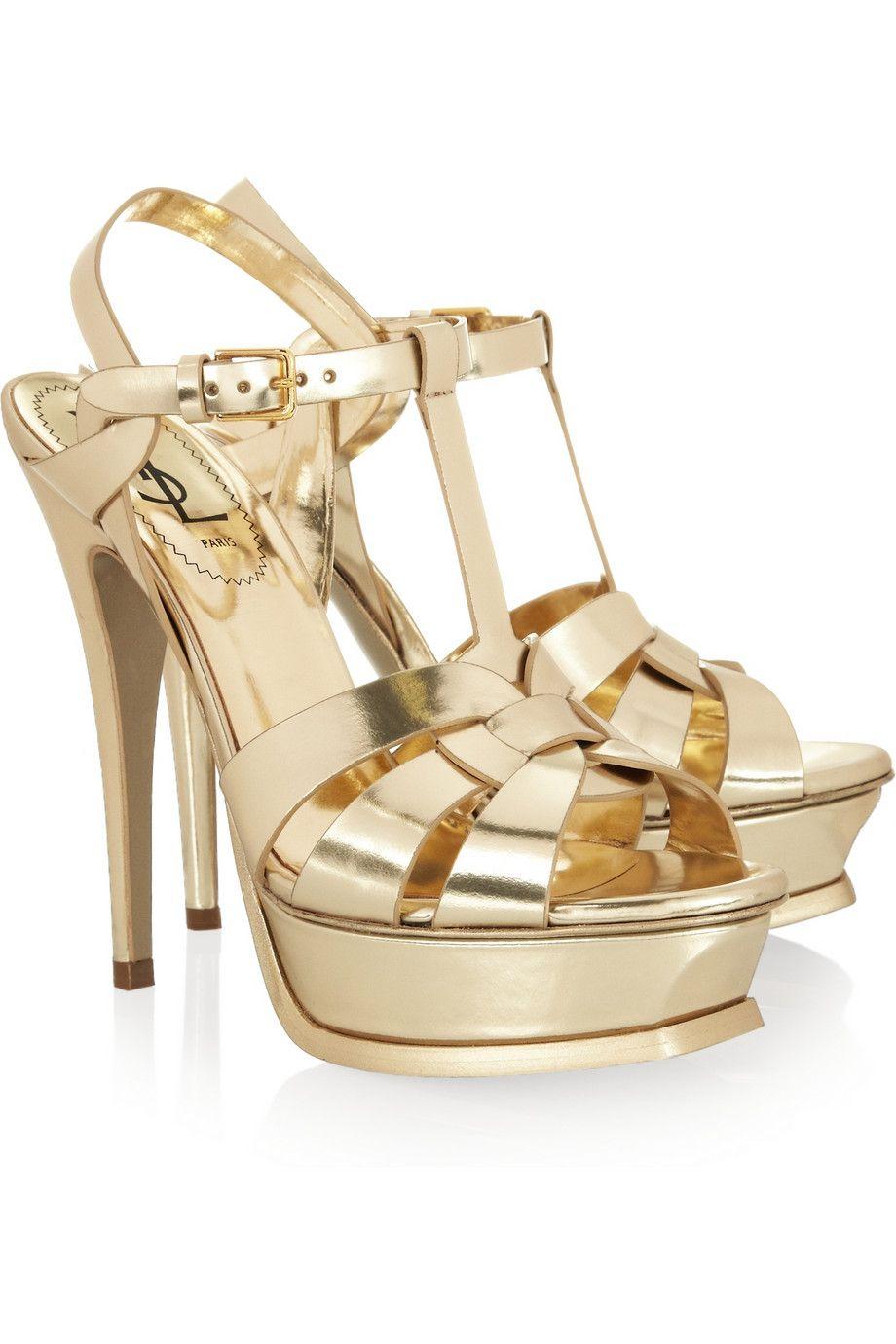 Ysl sandals shoes - Yves Saint Laurent All Gold Err Thang Gold Sandalsleather Sandalsshoes