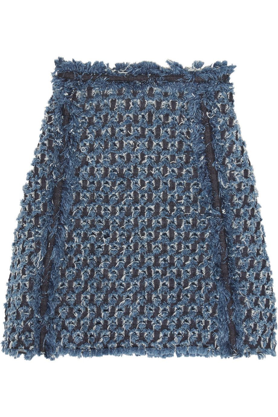 Sonia Rykiel | Frayed Laser-Cut Denim Mini Skirt | https://www.net-a-porter.com/gb/en/product/685185/sonia_rykiel/frayed-laser-cut-denim-mini-skirt