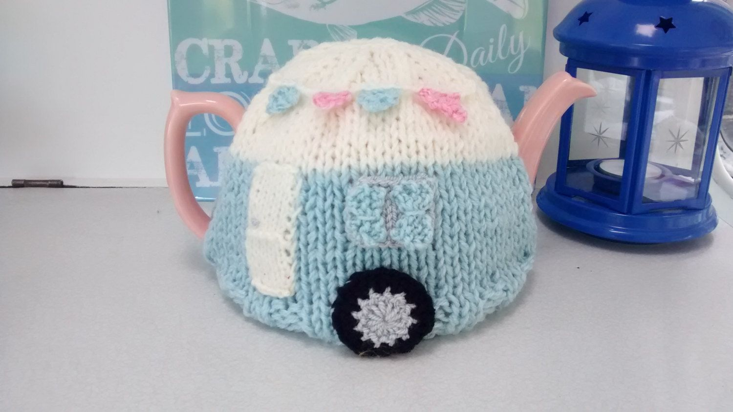Vintage Blue Caravan with Bunting Knitted Tea Cosy by pattercakes on ...