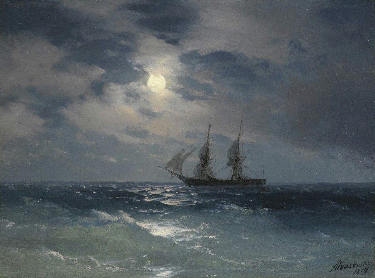 ivan konstantinovich aivazovsky russian 1817 1900 the brig ivan konstantinovich aivazovsky russian 1817 1900 the brig mercury in moonlight sailing shipshome decor