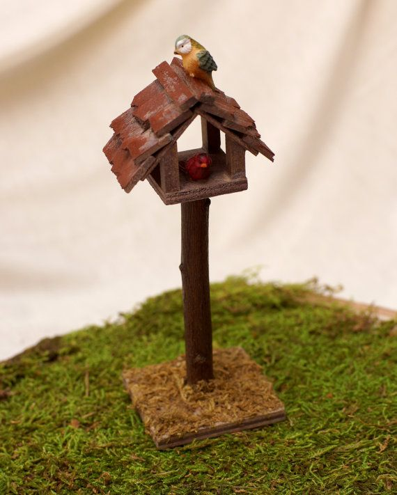 Wooden Birdhouse Miniature Fairy Garden Doll House Bird House With Birds