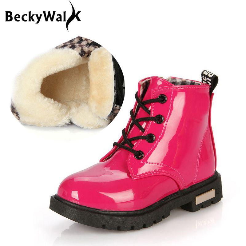 Winter Baby Mädchen Jungen Schuhe Schneestiefel Kinder PU wasserdichte Stiefel