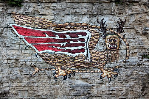The Piasa Bird (pie-uh-saw). Painted on the bluffs outside Alton Illinois. It's not quite the same as, or in the same place along the bluffs, as Lewis & Clark saw it but interesting to behold anyway.