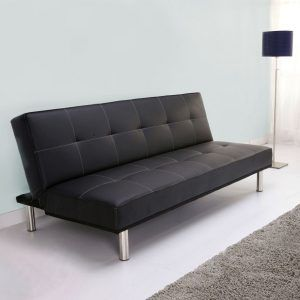 Small Black Faux Leather Sofa