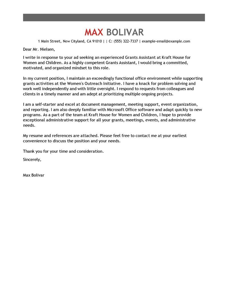 Administrative Assistant Cover Letter Example  Find Free Grant