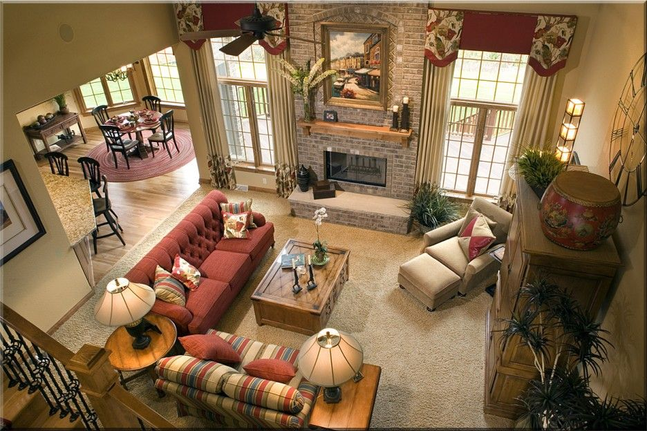 Home Design Luxury Great Room Designs Ideas Fancy Room Design Ideas Featuring Gray Brick Red Fabric Comfy Fireplac Great Rooms Room Design Colorful Furniture