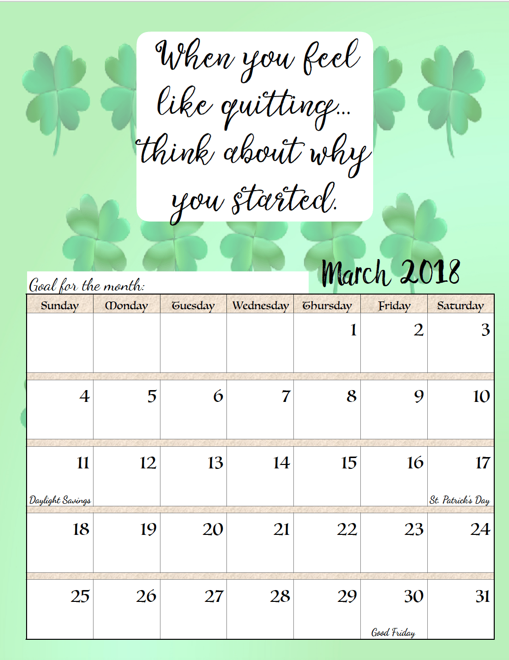 March 2018 Calendar With Quotes Calendar printables