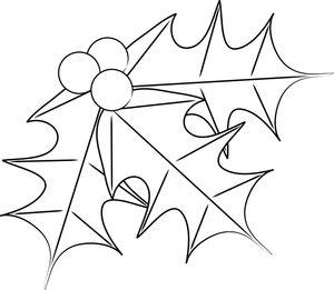 Free Holly Coloring Pages Clip Art Image