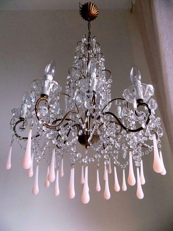 Italian antique chandelier pink opaline by MilanChicChandeliers