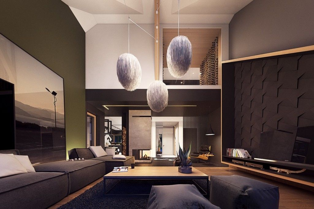 Apartments: plasterlina olive wall paint black ottoman sofa cube