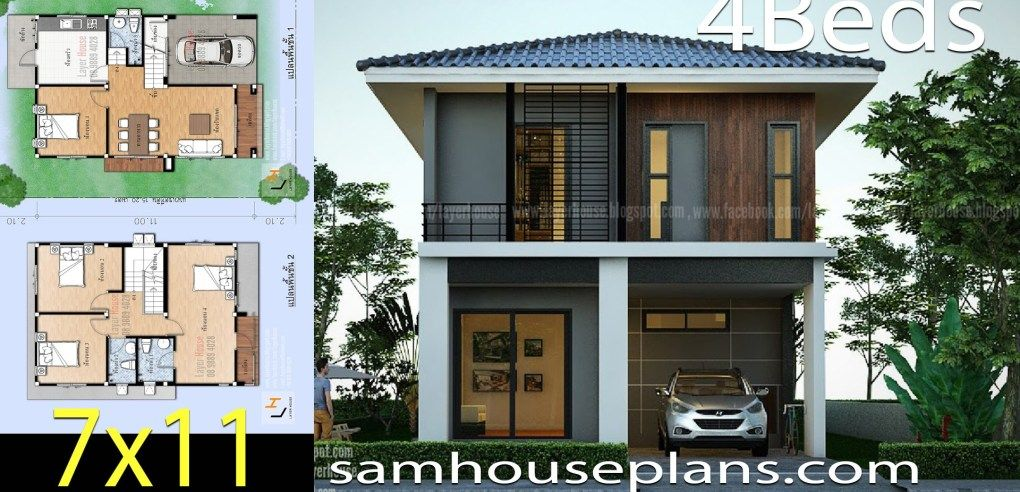 House Plans Idea 7x11 M With 4 Bedrooms Sam House Plans Model House Plan House Plans Modern House Plans