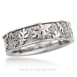 Oak Leaf Eternity Wedding Band Layers Of Leaves In Relief Cover The Surface This Nature Inspired Ring Can Be Made