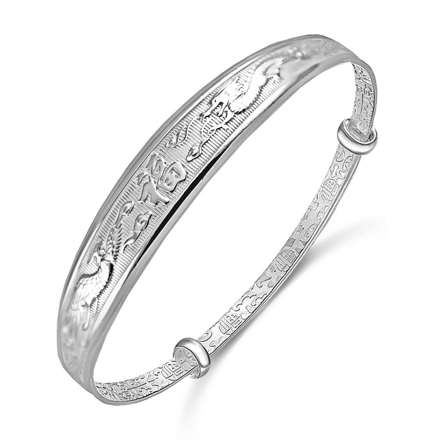 Merdia S999 Sterling Sliver Adjustable Chinese Style Lucky ...