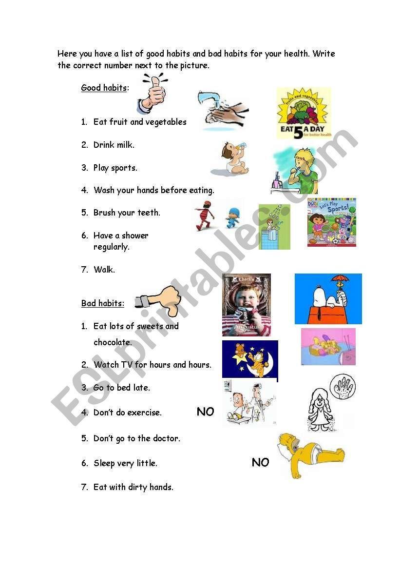 Good-Bad habits worksheet   Good habits for kids [ 1169 x 821 Pixel ]