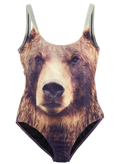 97770b96eae1d5 Swimsuit from We are Handsome featuring a scoop neck and a grizzly bear  print.