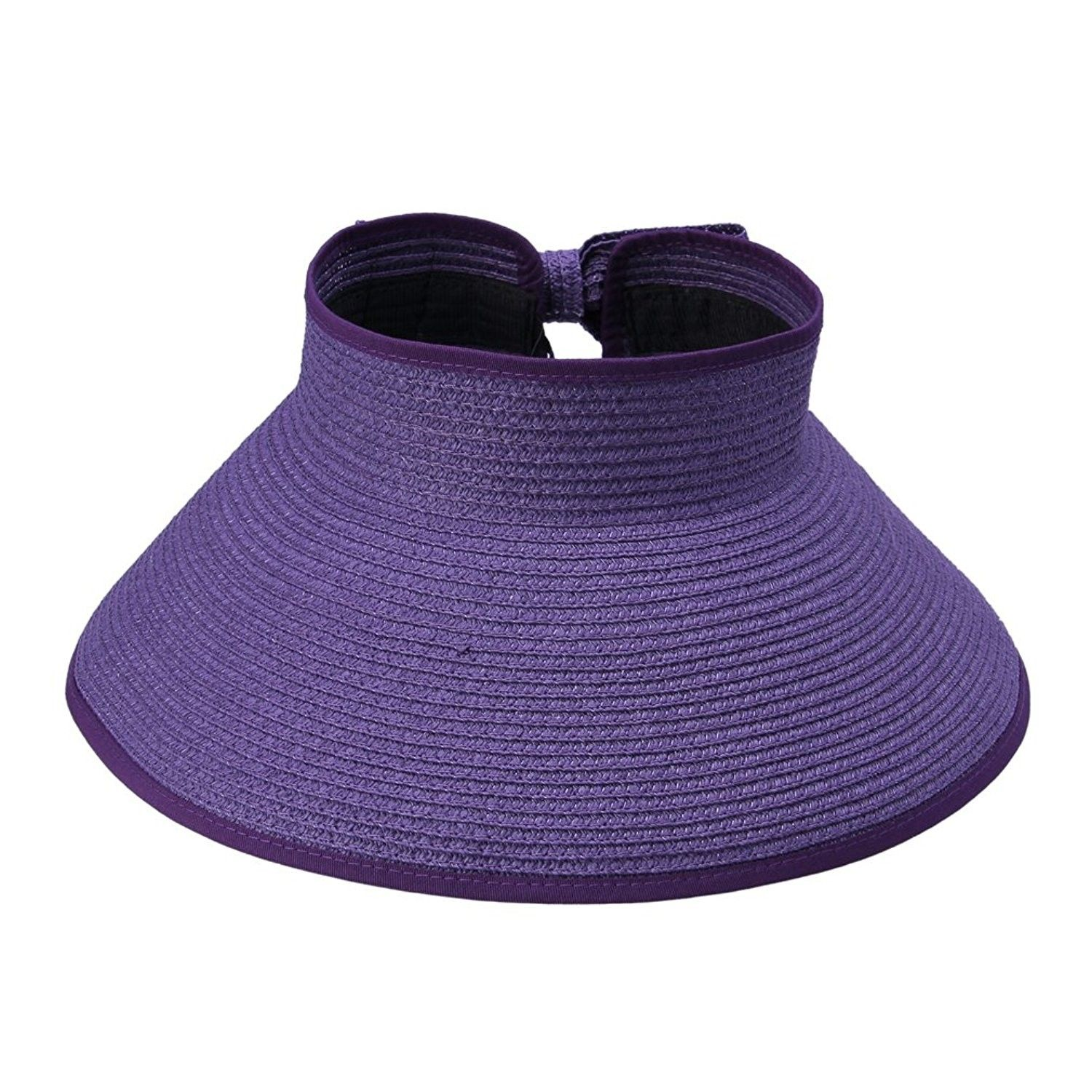9634beb6ea6 Womens Ladies Straw Hat Wide Brim Roll-up Sun Visor Purple ...