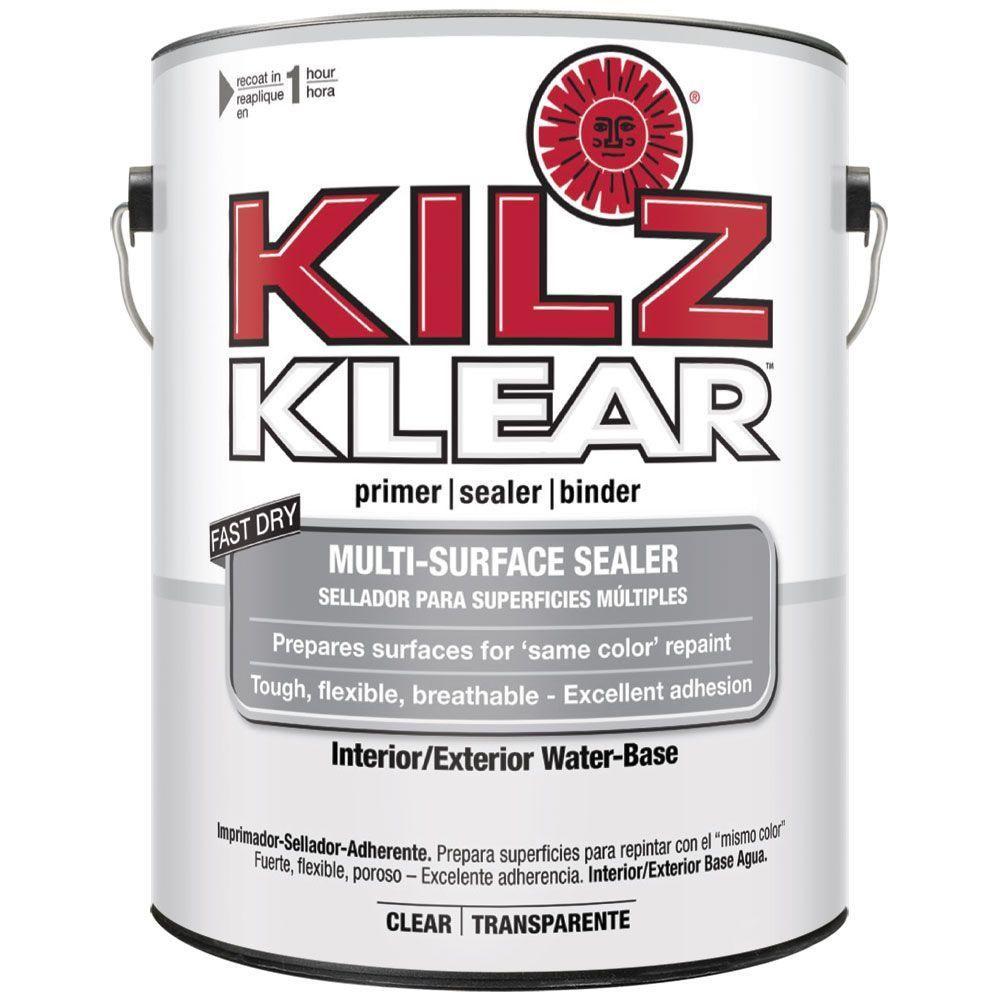 Kilz Klear 1 Gal Clear Interior Exterior Multi Surface Primer And Sealer L220101 The Home Depot Primer Sealer Cover Stains Kilz
