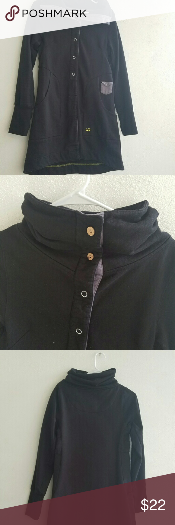 Womens long button up sweatshirt Like new and very comfy! Cowl neck can be worn button up or down - Two pockets on the front and thumb holes on wrist cuff looptworks Tops Sweatshirts & Hoodies