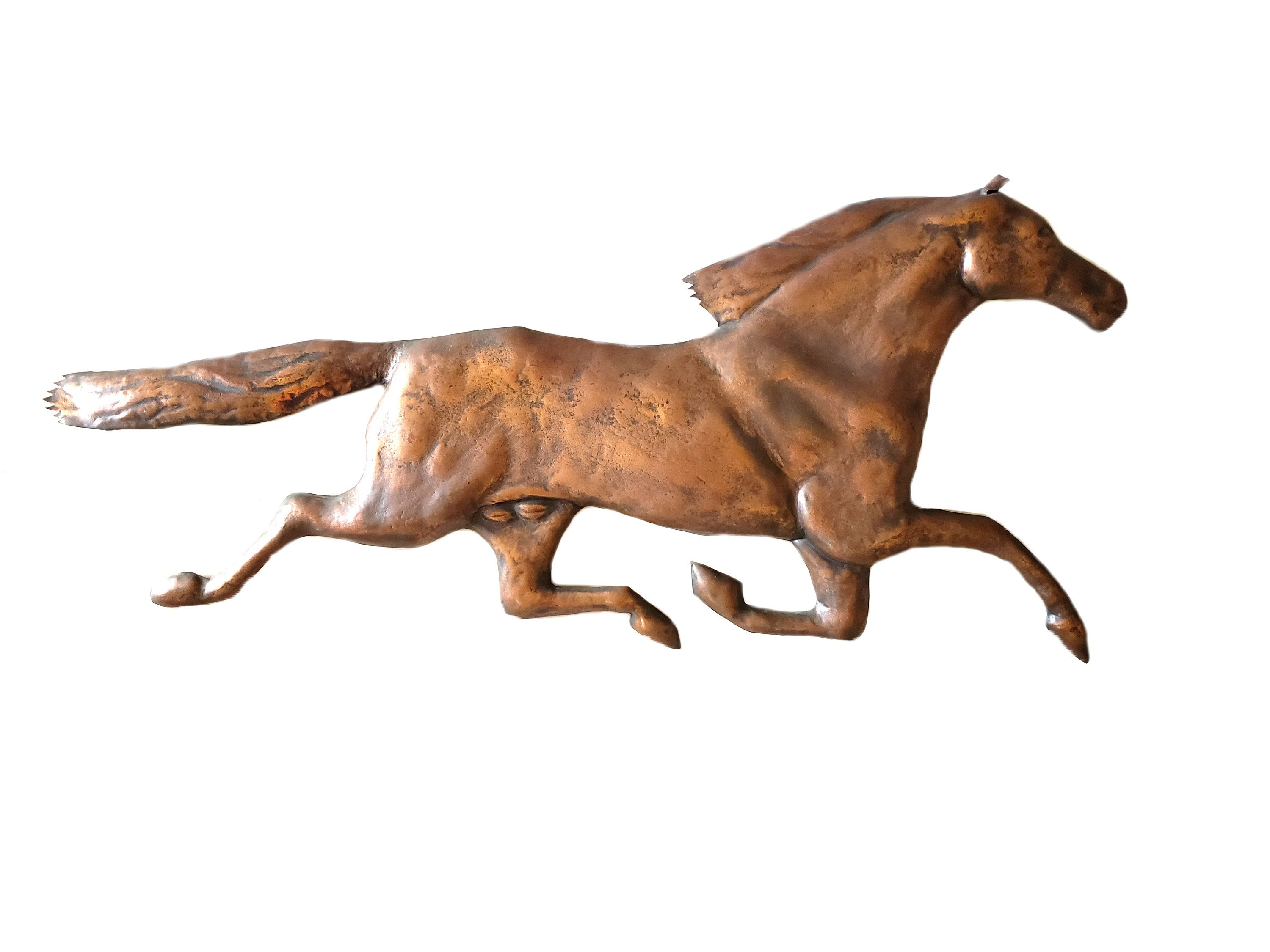 Large Copper Horse Wall Hanging Vintage Galloping Horse Wall