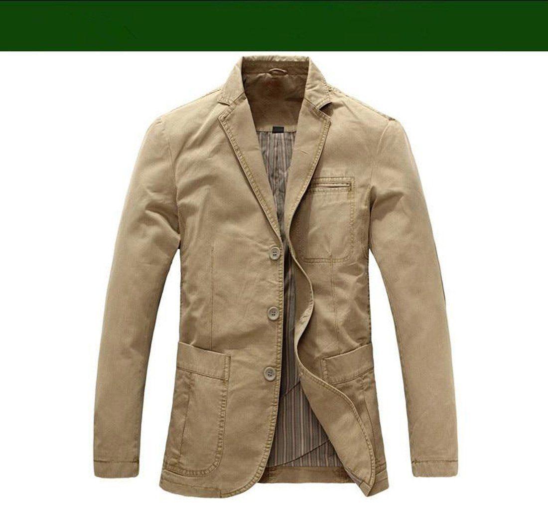 Heihuohua Mens Casual Cotton Jacket Lightweight Notched Collar Coat