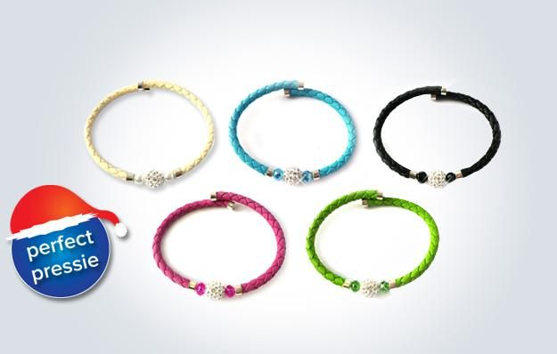 Leather torque crystal bracelets