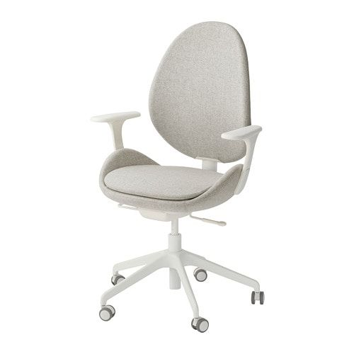 Hattefjall Office Chair With Armrests Gunnared Beige White Ikea Swivel Chair Office Chair Chair