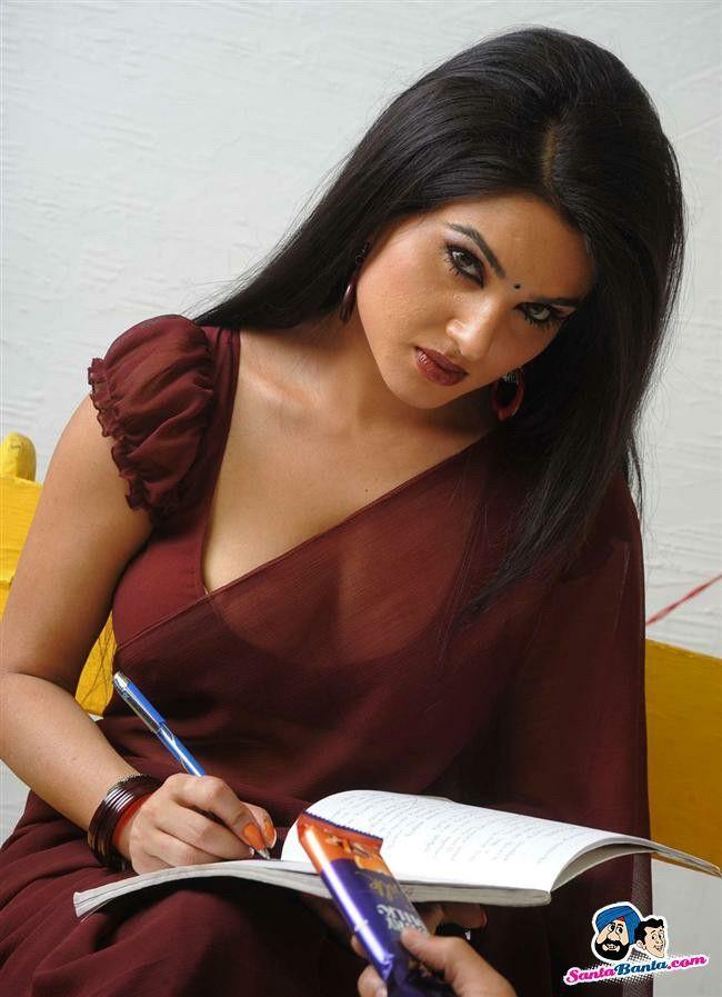 over photos hot Saree bending