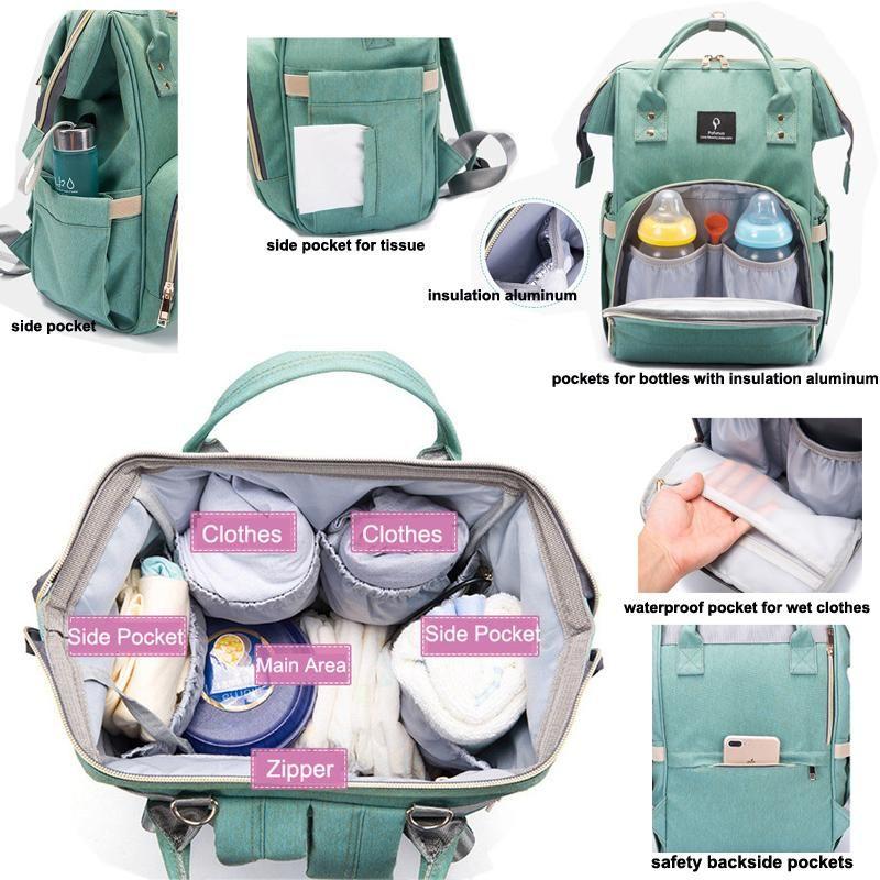 Waterproof USB Port Changing Bag Maternity Baby Travel Backpack Hospital Nursing