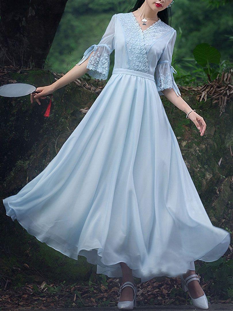 Light blue tie flare sleeve lace detail vneck maxi dress baju