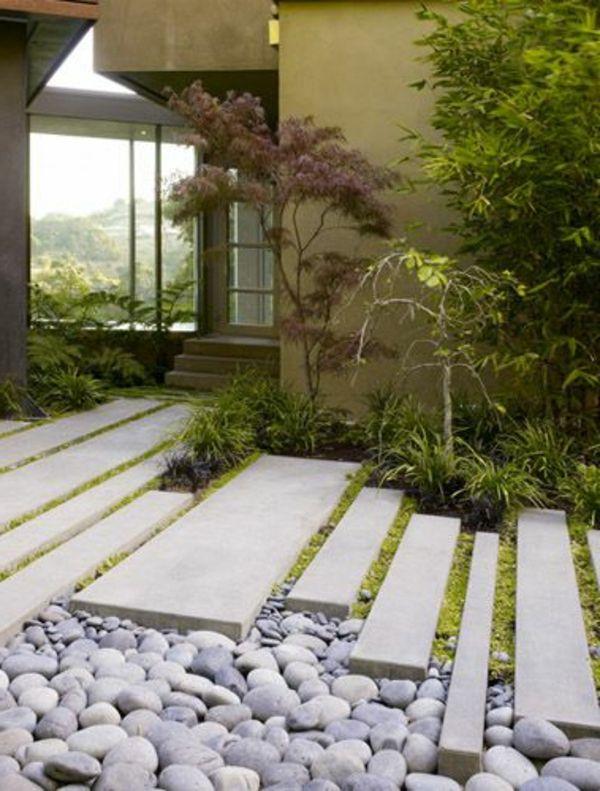 Allées de jardin créatives pour votre extérieur Jardin en béton