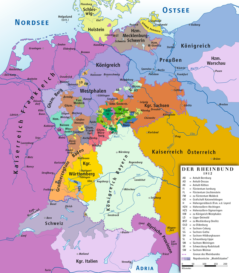 Rheinbund 1812, Political Map   History Of Germany   Wikipedia, The Freeu2026