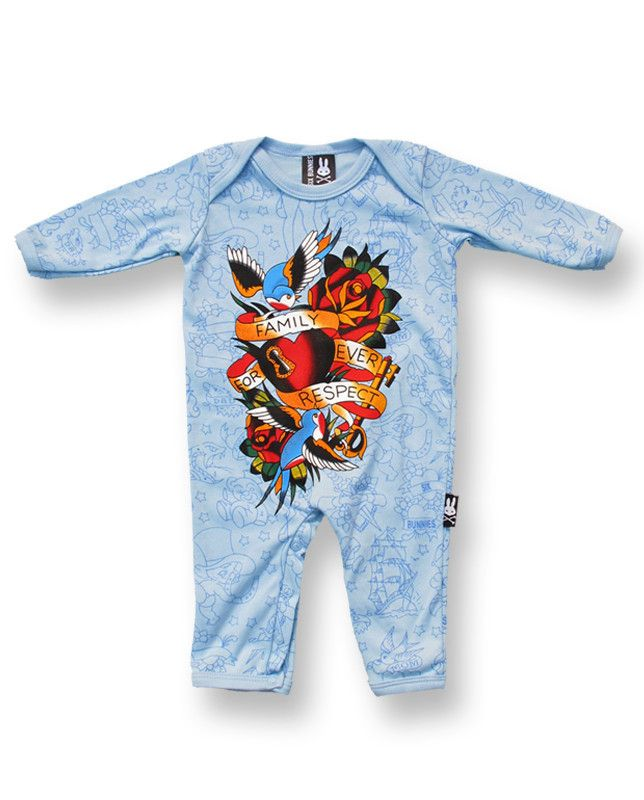 Six Bunnies Old School Playsuit Blue Romper Cute Cool Tattoo Rockabilly Alt Punk