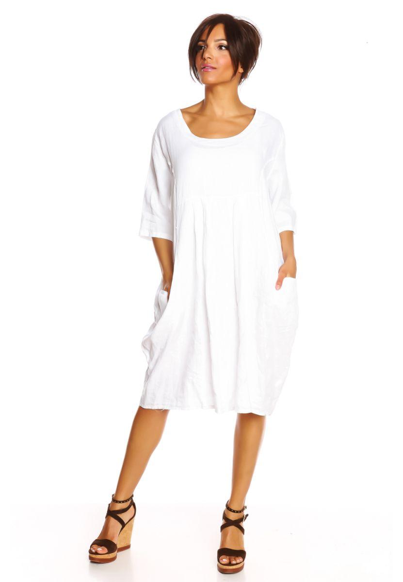 Summer Linen Kleid, Leinen, Halbarm, Rundhals weiß Jetzt bestellen ...