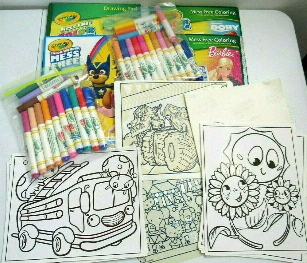 Crayola Color Wonder Lot Books Markers Coloring Sheets Paw