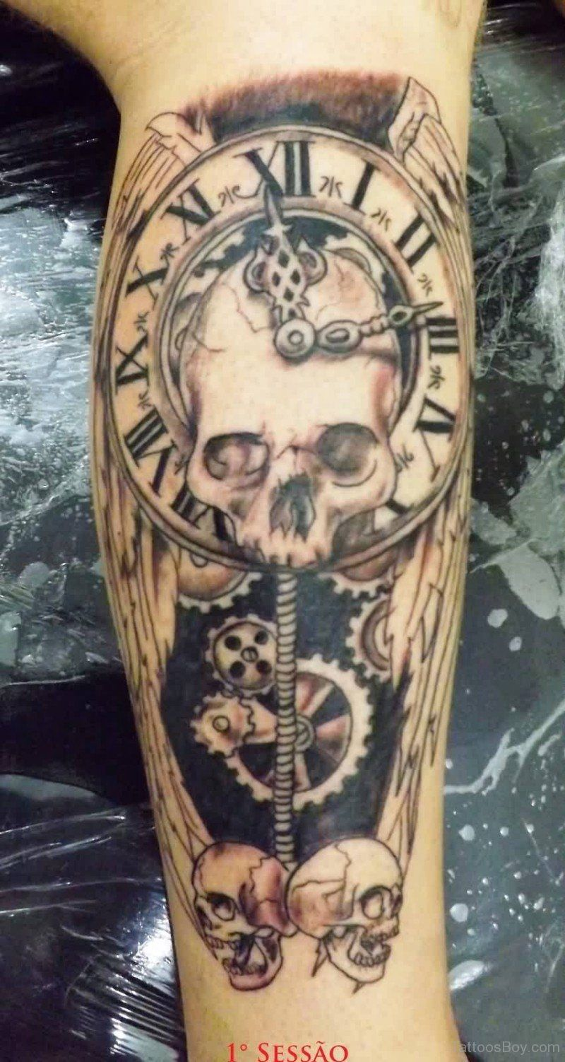 Pin On Vintage Clock And Skull Tattoo