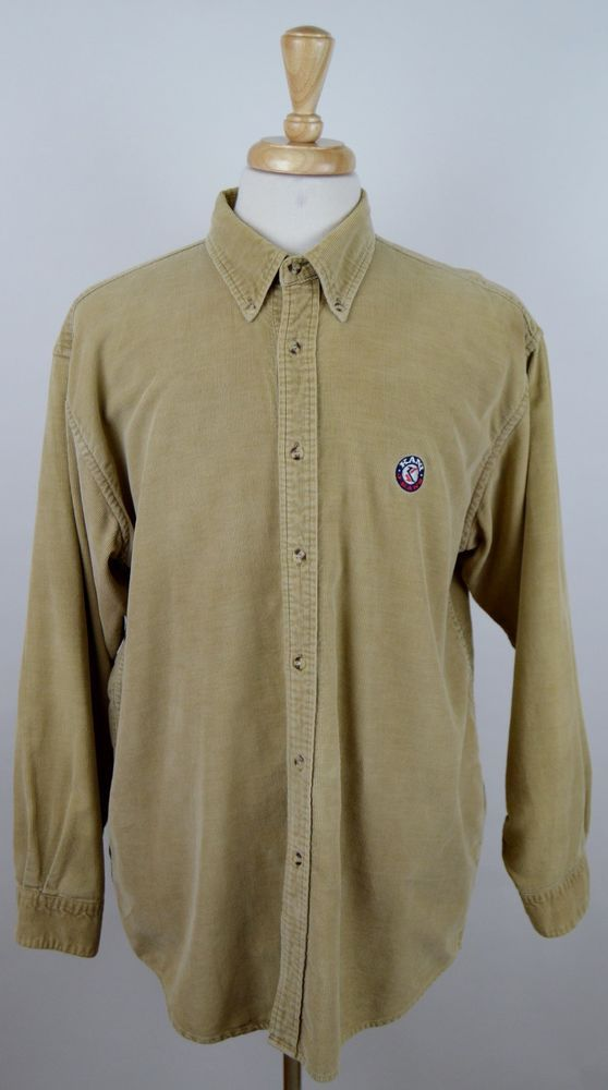 men's Kani Jeans solid beige corduroy long sleeve button front Large shirt used #KaniJeans #ButtonFront