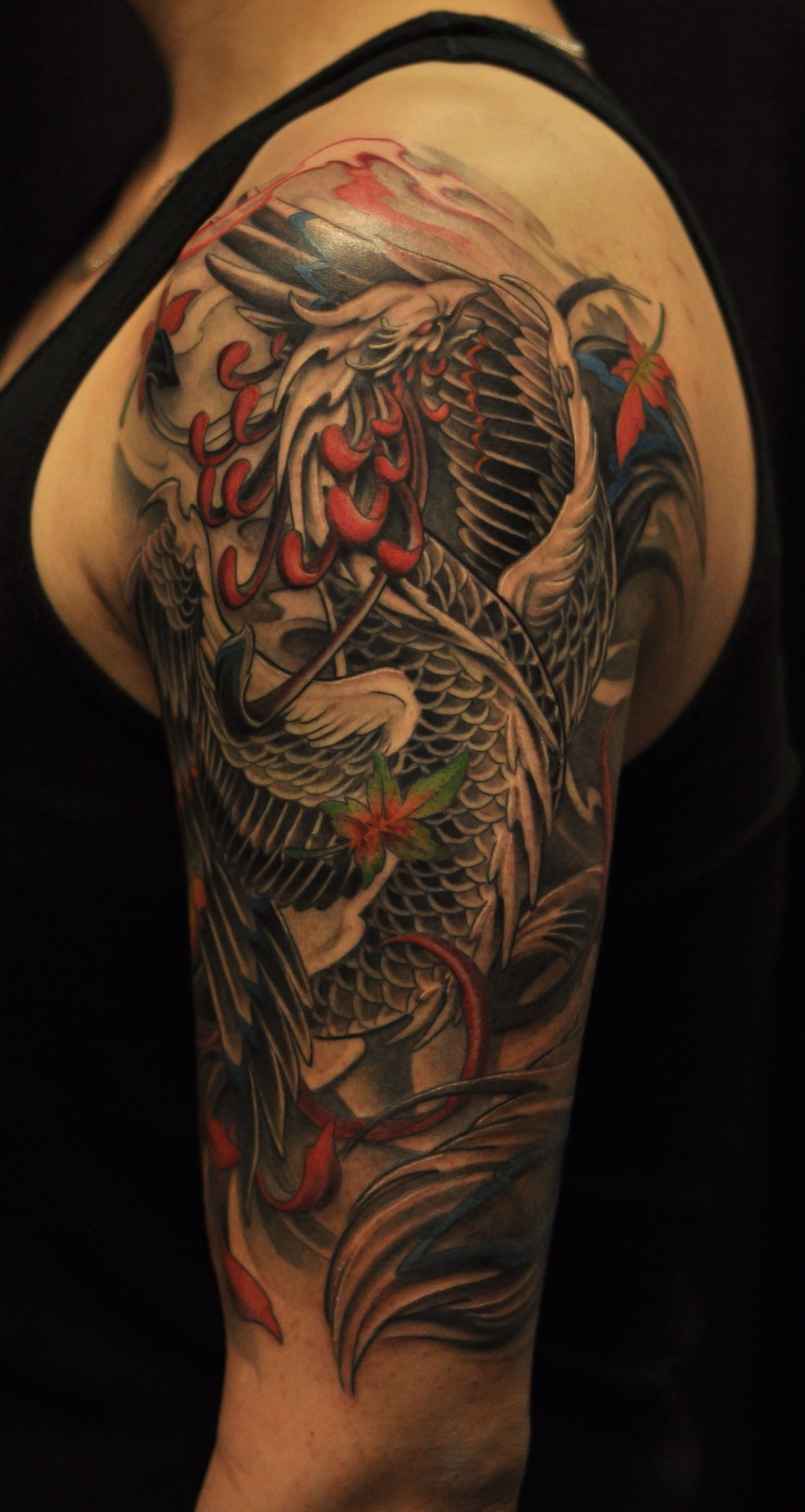 This is one of the coolest phoenix tattoos i 39 ve seen for Cost of a half sleeve tattoo