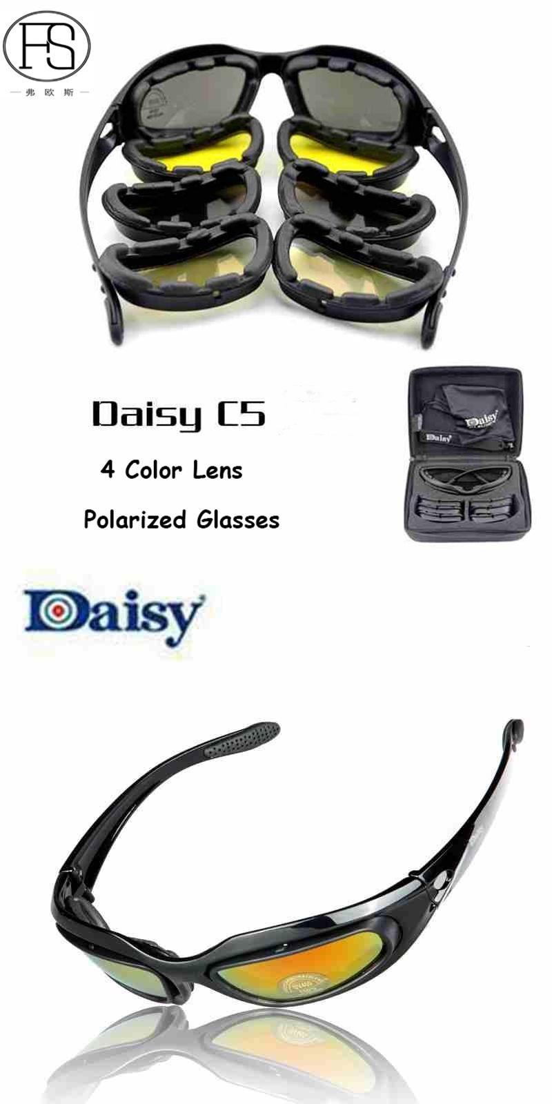 f9c153c0f9da  Visit to Buy  Daisy C5 Cycle Sunglasses 4 Lens Cycling Sports Eyewear  Hunting Military