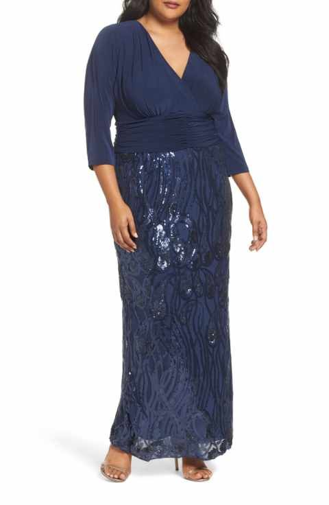 6d3519a269213 Brianna Embellished Shirred Waist Gown (Plus Size)