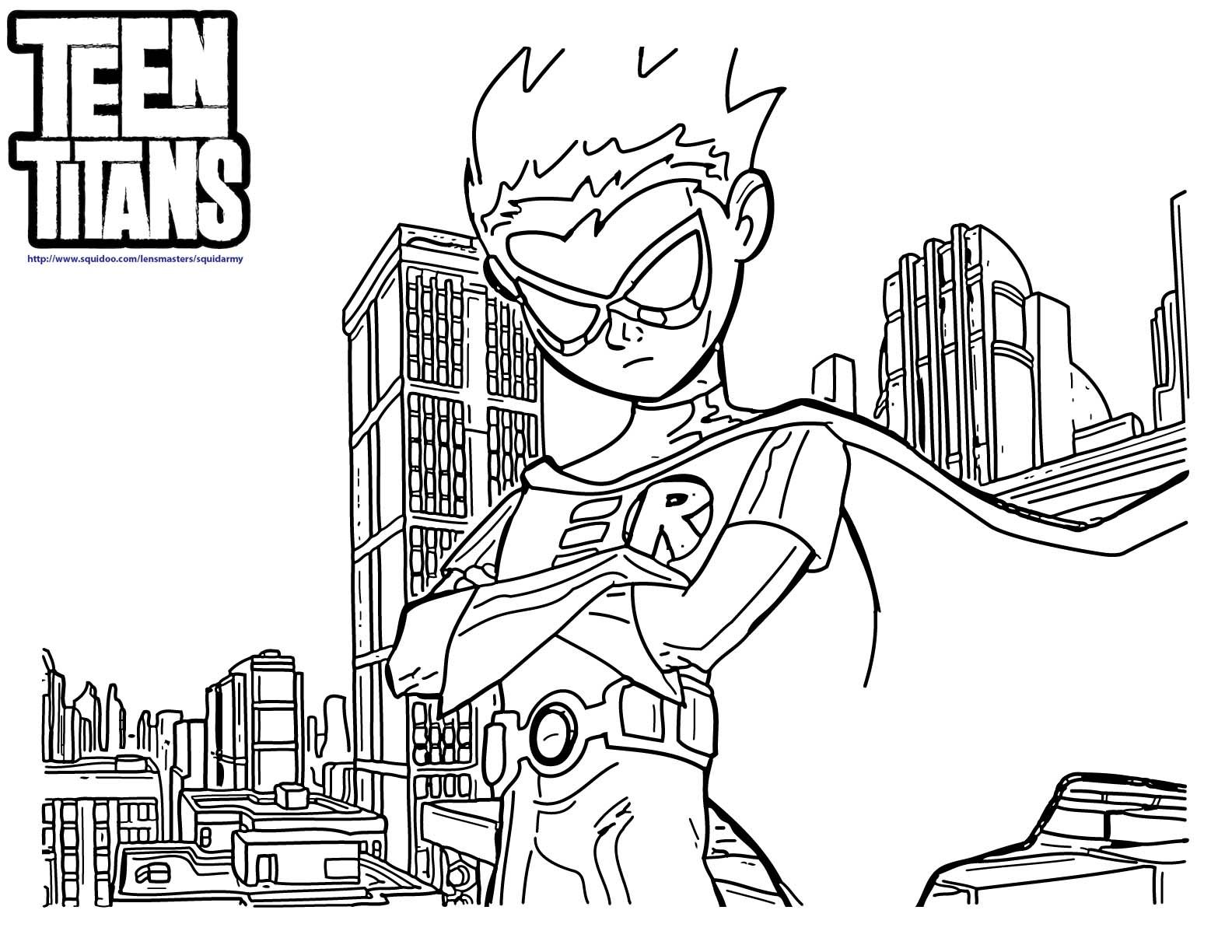 Teen Titans Go Robin Coloring Pages | Coloring 4 Kids: DC Super ...
